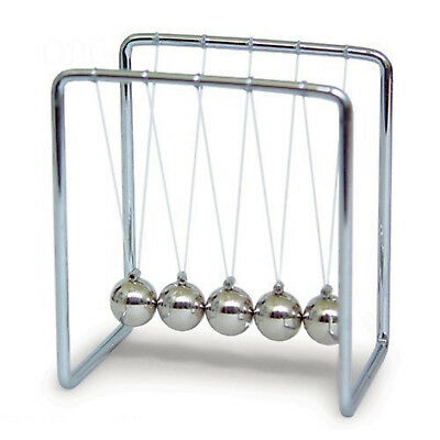 Newtons Cradle Steel Balance Balls 2.75 Inches Tall Swing Fun Kinetic Physics