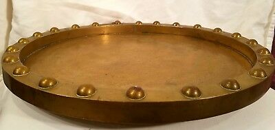 """RARE LARGE HEAVY 17""""x1"""" STUDDED ANTIQUE  ASIAN BRASS ETCHED ENGRAVED TABLE TRAY"""