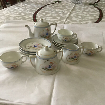 Vintage 16 Piece Hand Painted Nippon Children's Play Dishes Tea Set Duck  Japan