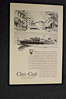 Vintage 1930 Chris Craft Commuting Cruiser Yatch Boat Illustrated Magazine Ad