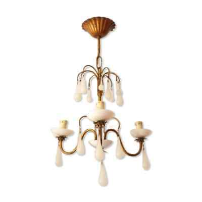 🗹 Antique Chandelier RARE White Opaline drops 1920 Beads 3 Lights Gouttes