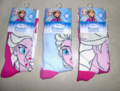 3 PAIRS GIRLS FROZEN SOCKS PINK/BLUE  - SIZES 9/12 - 12/2 - 2/4 Shoe size