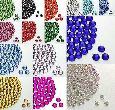 HOTFIX IRON ON GLASS RHINESTONES SIZE 2,3,4,5,6MM VARIOUS COLOURS from 99p