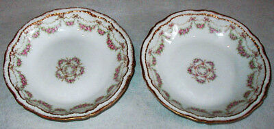 2 Antique Theodore Haviland Limoges Double Gold & Rose Swag & Bows Bowls