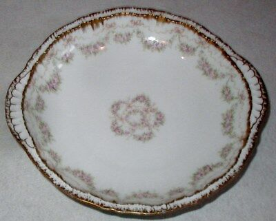 ANTIQUE THEODORE HAVILAND LIMOGES DOUBLE GOLD & ROSE SWAG & BOWS BOWL w/HANDLES