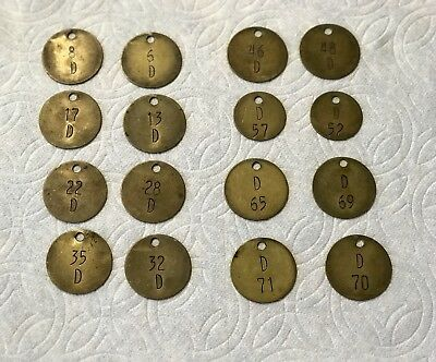 Vintage Brass Livestock Cattle Cow Ear Tags Numbered & Lettered D (16)