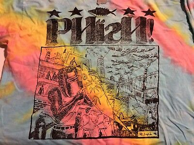 Vintage 1990s PHISH Tie Dye Concert Band Tour  T-shirt hippie weed