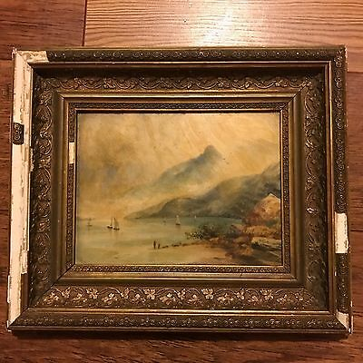 Antique Oil Painting Landscape On Porcelain Old Victorian Or Georgian Picture