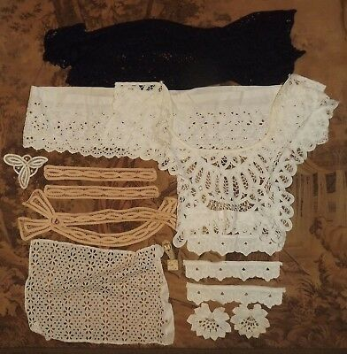 Lot VINTAGE & OR ANTIQUE LACE TRIMS Collars & Pieces Apps Salvage  for Repurpose