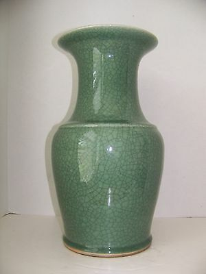 """Beautiful Vintage Large Celadon Vase With Crackle Finish - 17"""" Tall & 14lbs."""