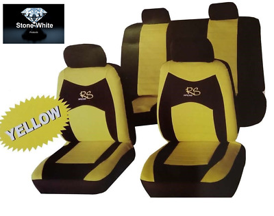 Yellow & Black RS Seat Cover Full Set For NISSAN QASHQAI + 2 2010> 7SEATER