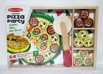 Melissa Doug Pizza Party Wooden Play Food Set With 54