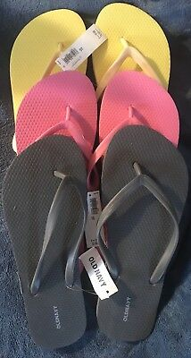 Old Navy Women's Ladies Flip Flop lot of 3 Dark Gray Pink Yellow NWT Size 10