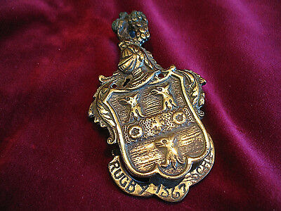 VTGE BRASS DOOR KNOCKER RUGBY SCHOOL CREST 1567 FOUNDED 450th ANNIVERSARY YEAR