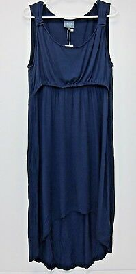 Milk Nursingwear Women's High Low Nursing Dress XL  Navy  NWT