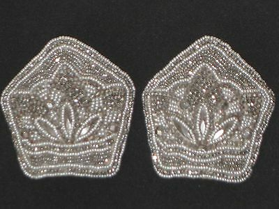 Gorgeous! Antique French Steel Bead Silk Backed Shoe Buckle Pair Made In France