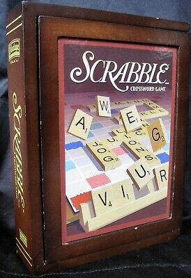 Scrabble Vintage Game Collection Wood Book Shelf Edition Parker Brothers Retro
