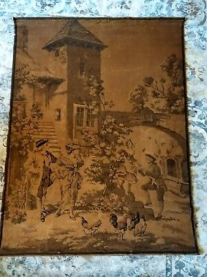 Large Antique French Tapestry country estate Scene