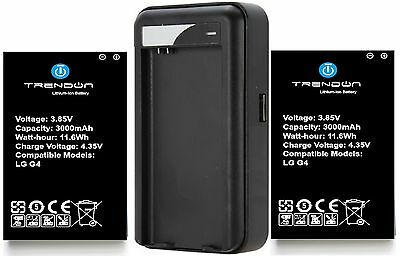 TrendON Two (2) 3000mAh batteries and travel charger for LG G4 smart phone