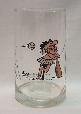 Johnny Hart B.C. Ice Age Collector's BASEBALL PLAYER GLASS CUP ARBY'S