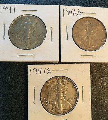 1941-P, 1941-D and 1941-S 50C Walking Liberty Half Dollars (Lot of 3)