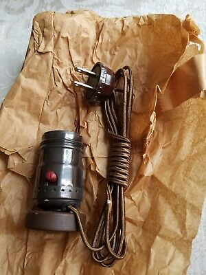 Vintage New Old Stock Leviton Lamp Base/Socket, Cord, and Plug-In Assembly