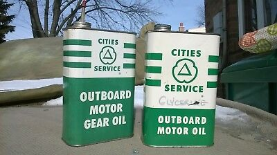 Vintage One Quart Cities Service Outboard Motor Oil Can Gear Oil can