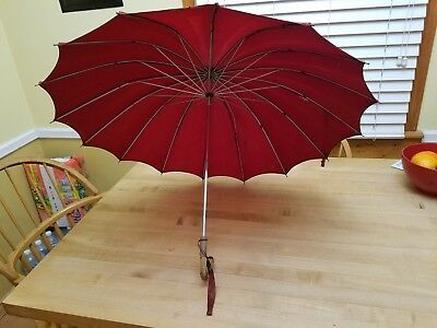Beautiful Miss George 1950's Vintage Red Umbrella with Lucite/Bakelite Handle