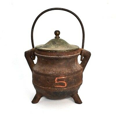 Vintage Cast Iron Bean Kettle 3 Footed With Lid   H49