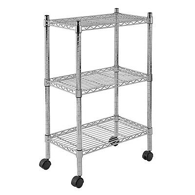 """Sandusky MWS221333 3-Tier Mobile Wire Shelving Unit with 2"""" Nylon Casters, 3 ..."""
