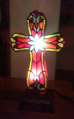 """Vintage 13"""" Stained Glass Cross Night Lamp  with beautiful design. Old but Mint"""
