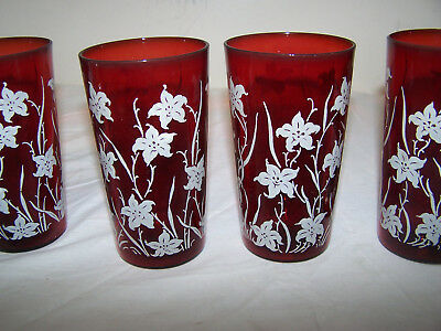 VINTAGE/ANTIQUE FOUR RUBY RED  TUMBLER GLASSES with flowers