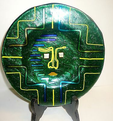 Green Art Glass Plate with Abstract Face William C White 1997 Blown Glass