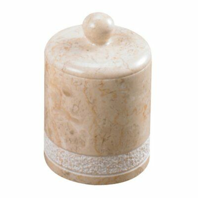Creative Home Spa Hand Carved Marble Cotton Ball Holder, Beige