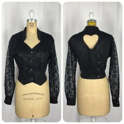 Vintage 1980's Size Large Black Western Crop Jacket Lace Sleeves Open Heart Back