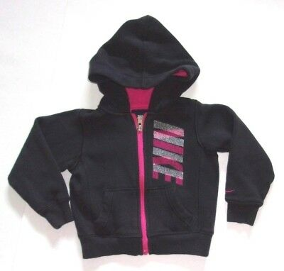 Toddler Girl's Black and Pink Nike Hooded Zip-up Sweatshirt Size 2T