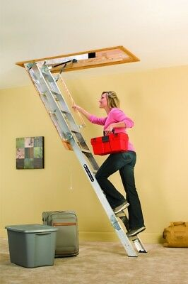Home Garage Aluminum Attic Ladder Stairs 350 Pound Capacity 22.5x54 Inch Opening