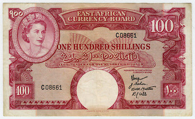 EAST AFRICA 1958-60 ISSUE 100 SHILLINGS BANKNOTE VERY SCARCE VF.PICK#40a.