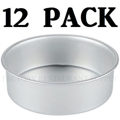 "12 PACK 6"" x 2"" Round Aluminum Cake Pan Deep Dish Pizza Commercial Baking Sheet"