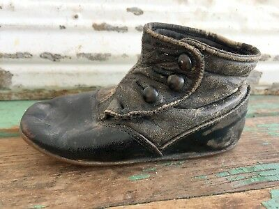 Antique Victorian Baby Boot Shoe Leather Button Up  Single one Boot