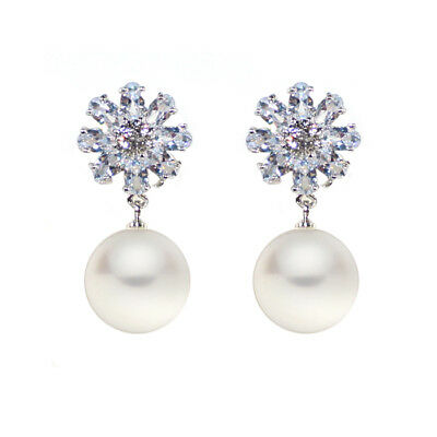 Flower Pearl Cubic Zirconia Earrings, Gold Plated over Brass