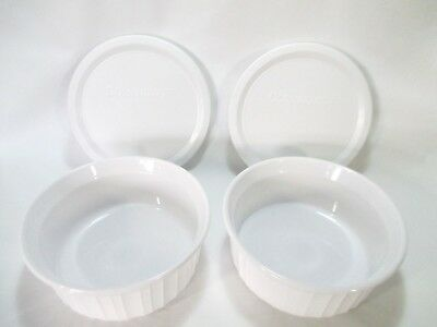 Corning Ware 2 French White 16 Oz Round Casserole Dishes w/ Lids Free Shipping!!