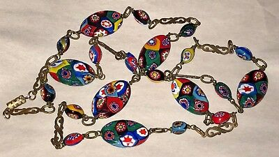 "Antique VINTAGE VENETIAN  MILLEFIORI Art GLASS BEAD 34"" Gorgeous Old NECKLACE"