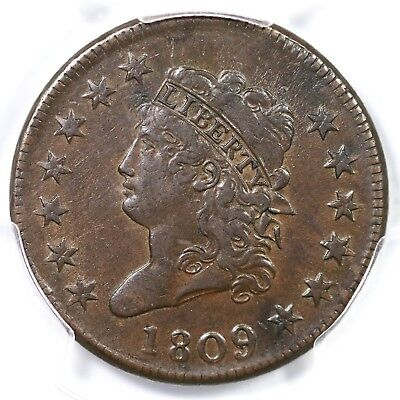 1809 S-289 PCG XF 45 Classic Head Large Cent Coin 1c