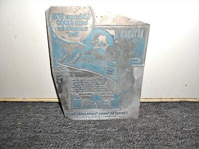 Vintage 1979  OHIO LOTTERY $1000 a monthy for life Metal  Printers Block Plate