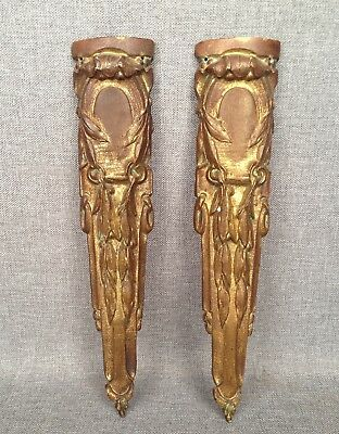 Pair of antique furniture ornaments made of ormolu France 19th century