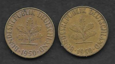 Germany Pair 1950-F & G 5-pfennig in Fine Condition