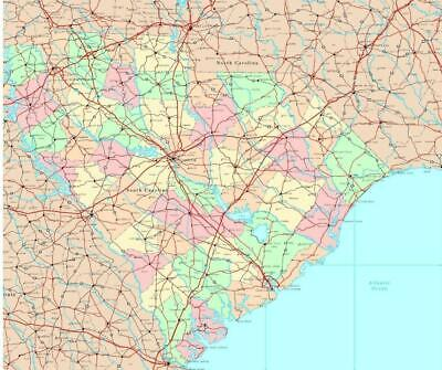 SOUTH CAROLINA STATE ROAD MAP GLOSSY POSTER PICTURE PHOTO ...