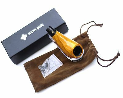 ShowJade TM Traditional Yellow Tobacco Pipe (With Pipe Pouch)