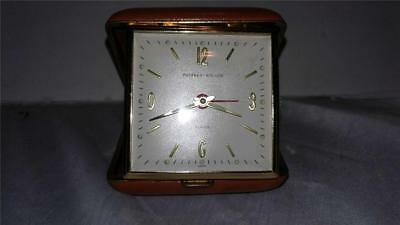Vintage Phinney-Walker Travel Glow in Dark Alarm Clock in Maroon Case Swiss